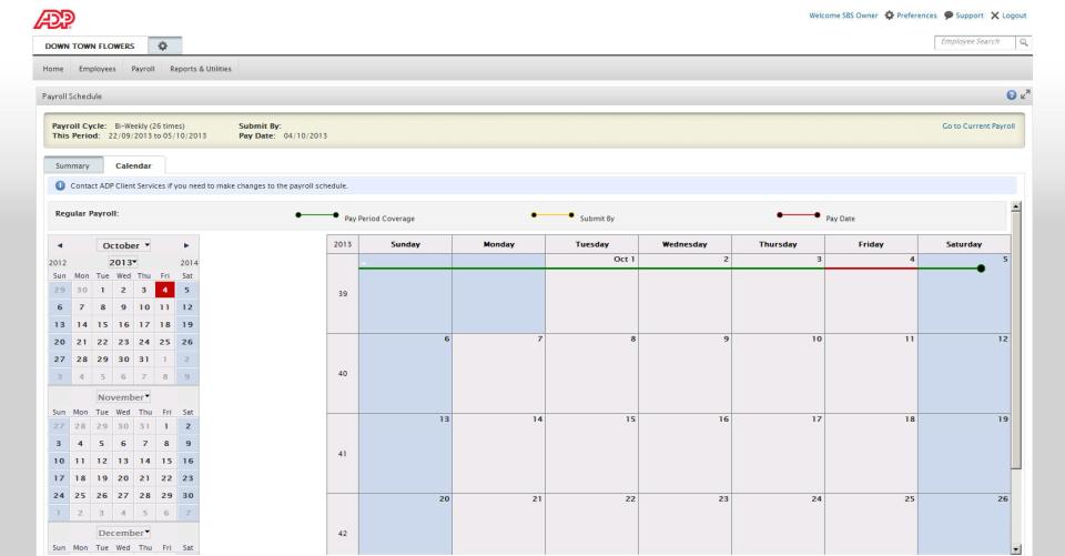 Display calendar view