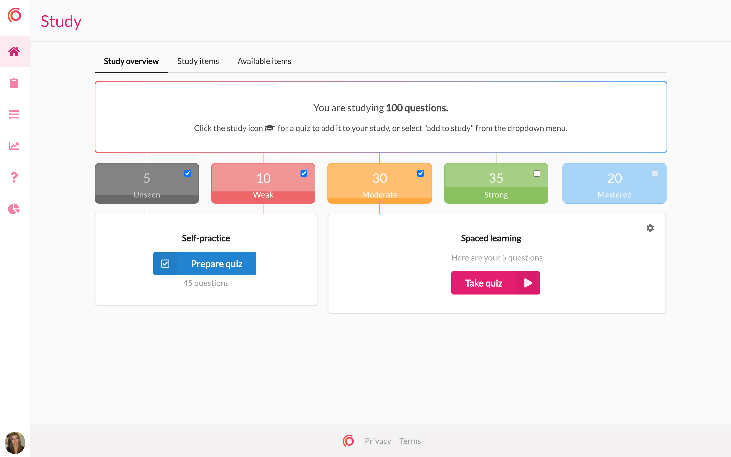 Spaced learning dashboard where learners can view how many questions they've mastered.