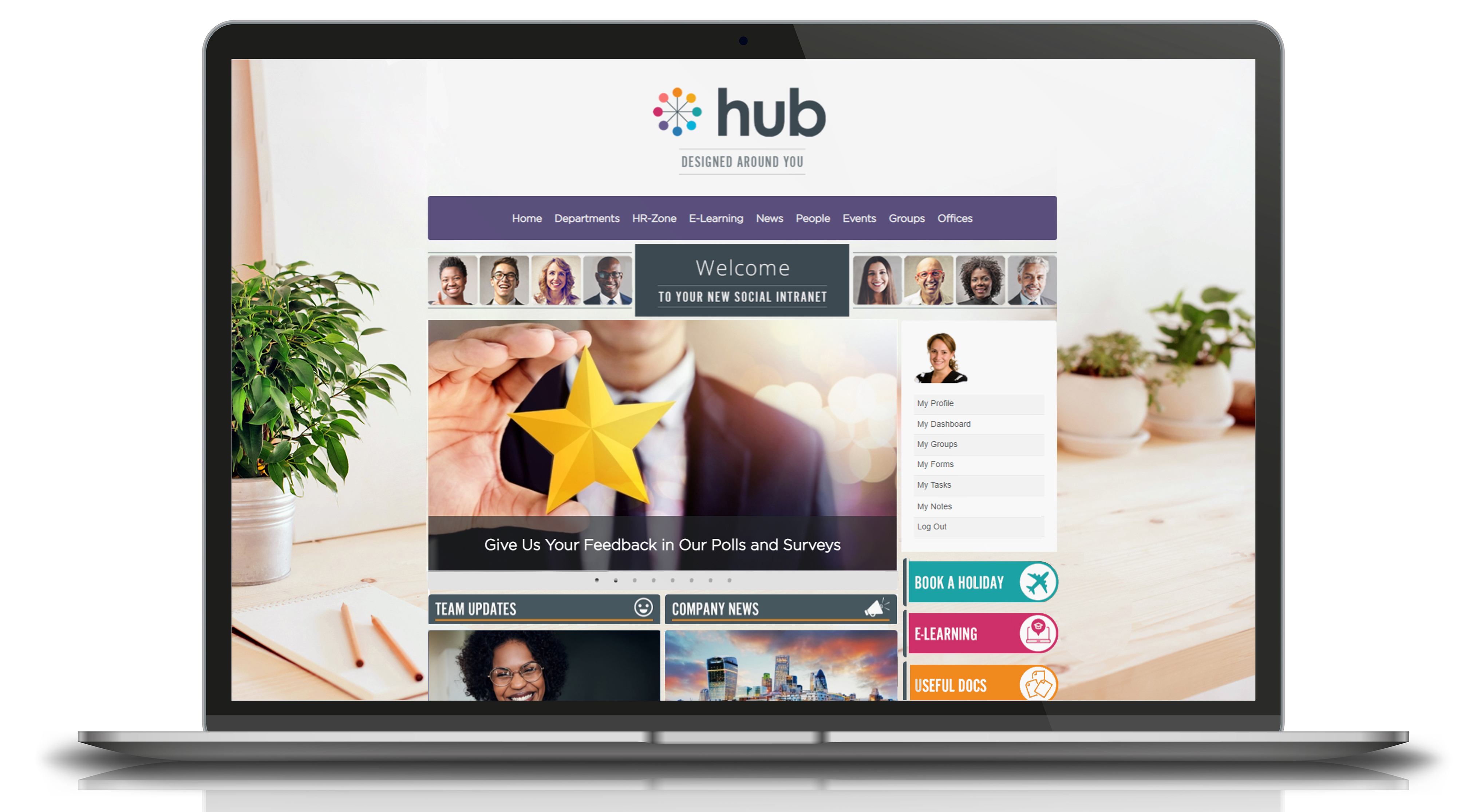Homepage example - customise your homepage content, layout and branding in just 3 clicks