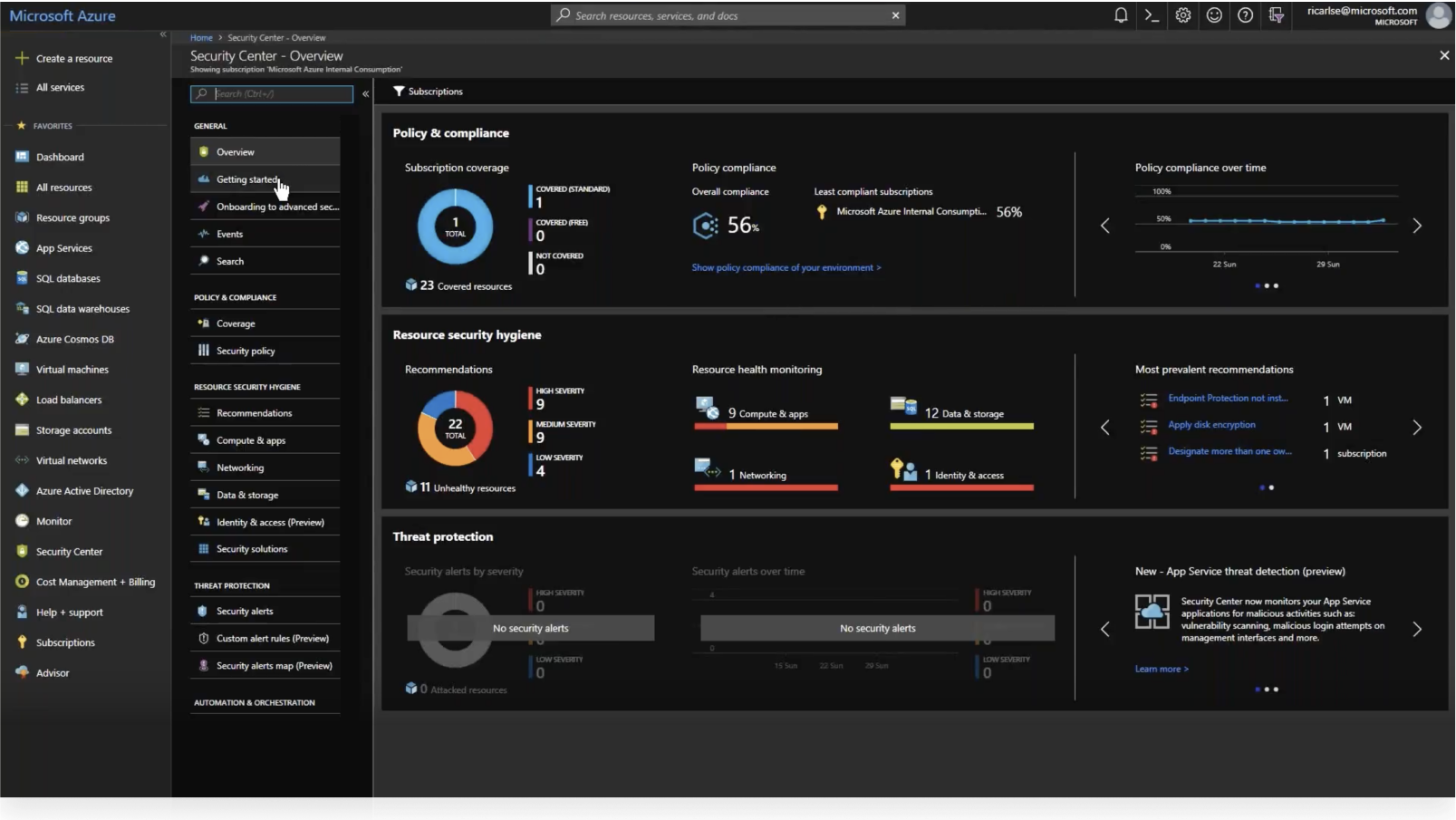 Azure Active Directory security center