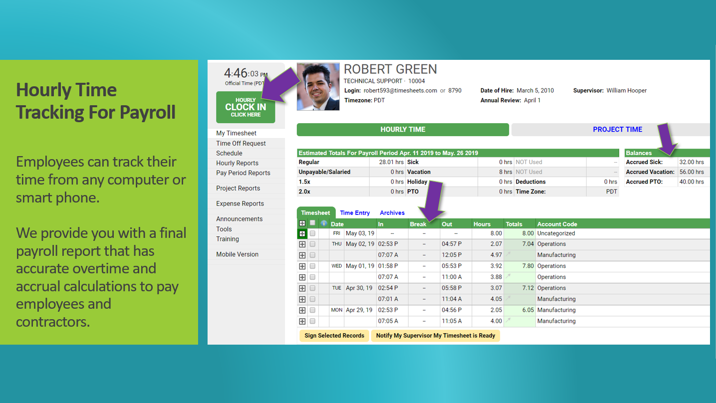 The hourly timesheet shows attendance, time off, accrual balances, and more.