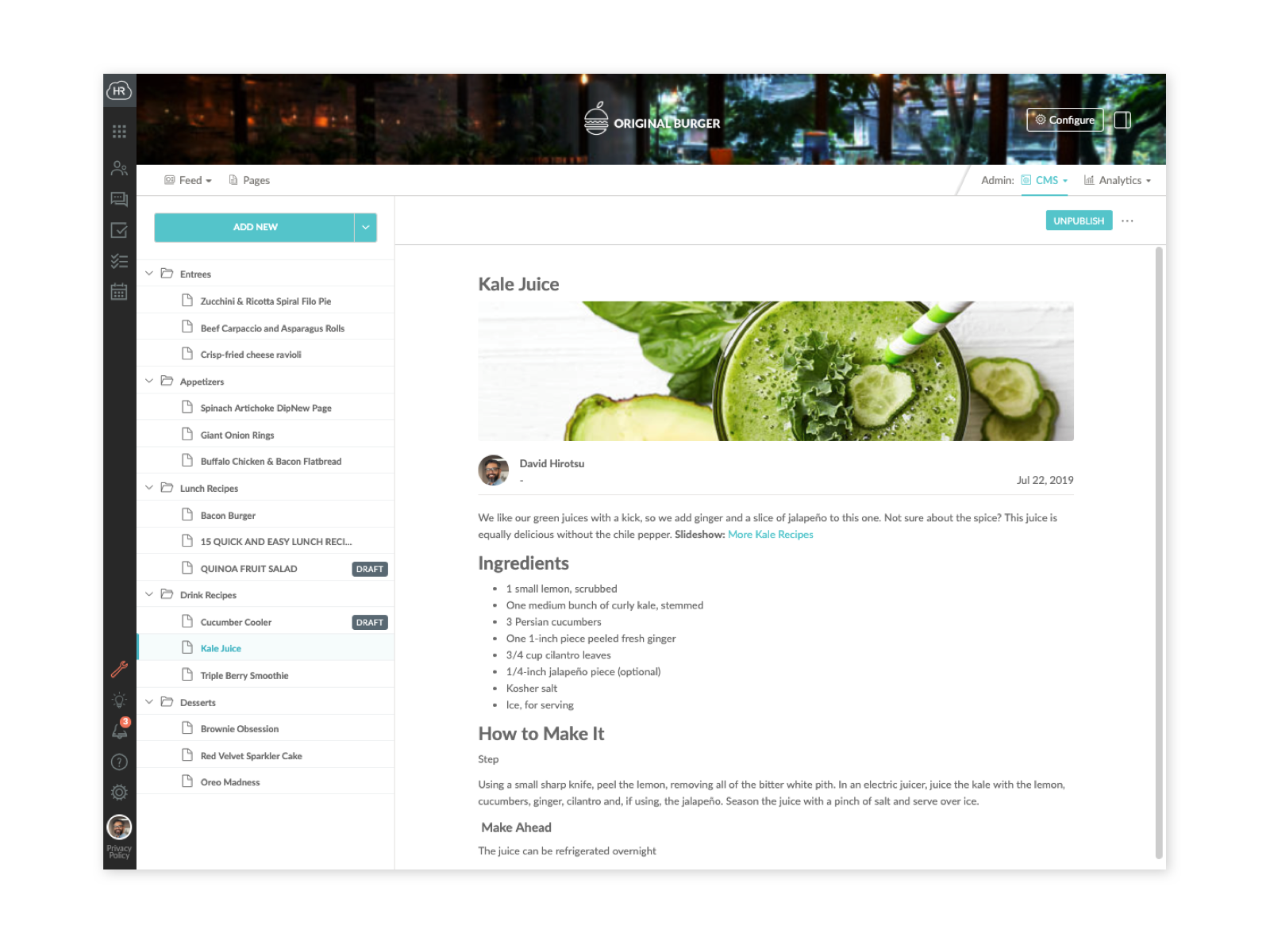 Company intranet pages