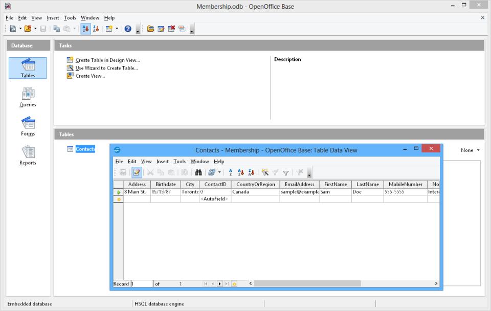 Apache OpenOffice create tables