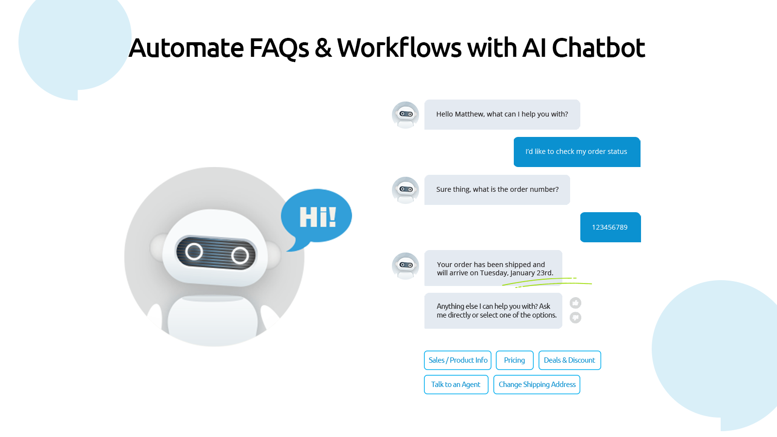 Automate FAQs & Workflows with AI Chatbot