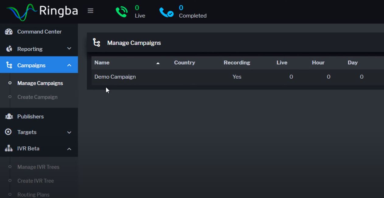 Ringba manage campaigns