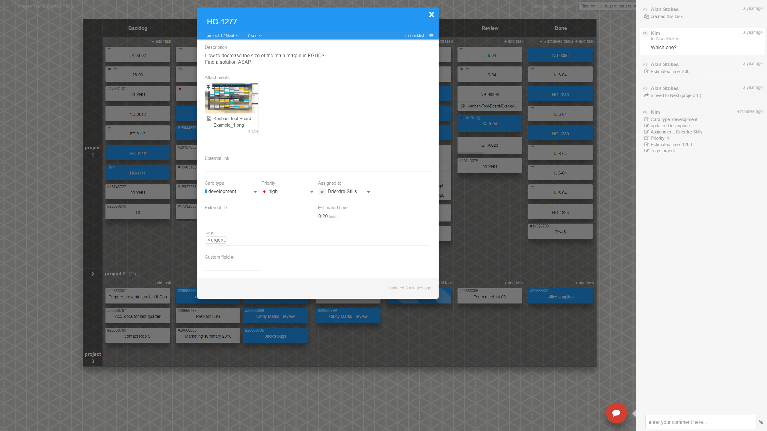 An open card view. Users select what fields a given card color (type) should display. Task comments and edit history visible in the side panel on the right.