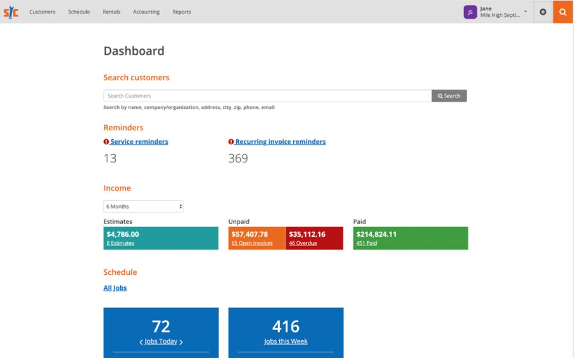 ServiceCore dashboard