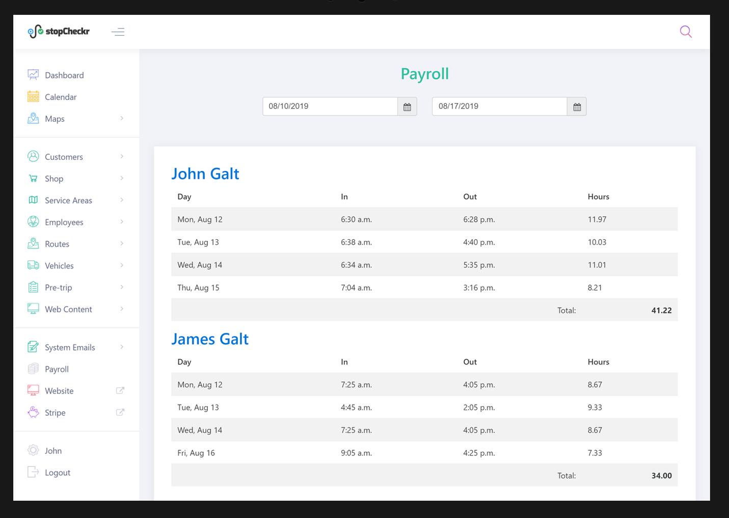 stopCheckr payroll screenshot