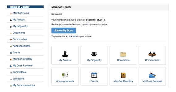 The member self service portal provides public access features for managing memberships