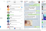 Captura de pantalla de Telegram: Telegram Messenger is available as a native app for iOS devices, allowing users to conduct chat conversation threads including images and emoticons