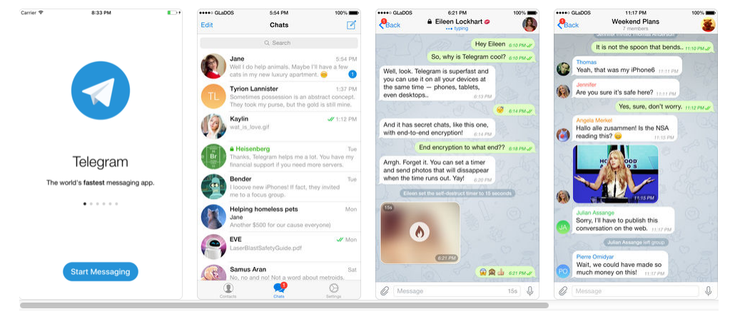 Telegram Messenger is available as a native app for iOS devices, allowing users to conduct chat conversation threads including images and emoticons