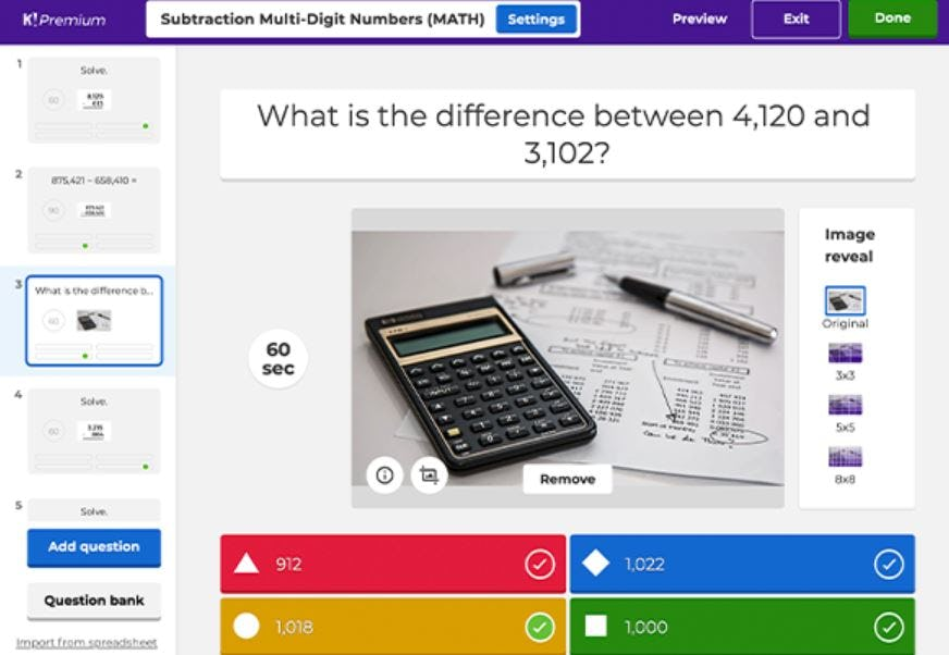Kahoot! Software - Kahoot! multiple-choice question