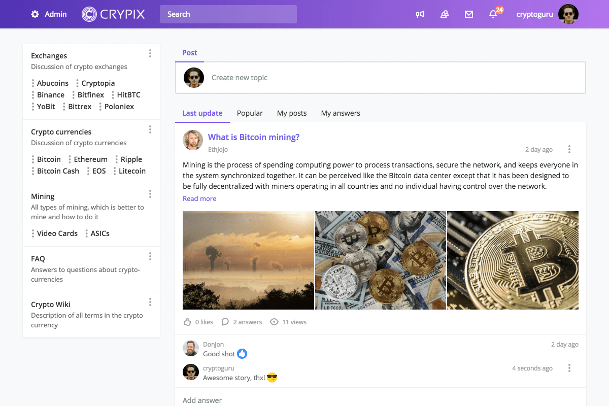 MyTalk screenshot: MyTalk can be setup like a social network with a news feed, commenting, likes, posting, and more