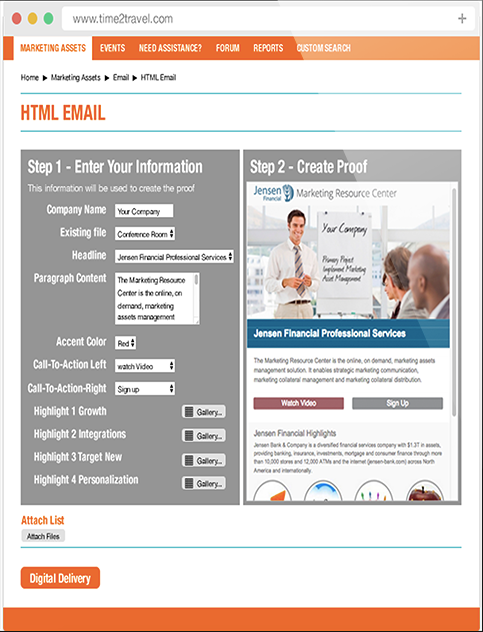 MarcomCentral Enterprise allows users to create personalized html emails with merged data