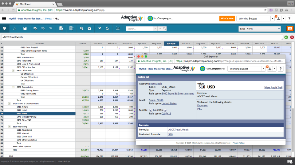Adaptive Planning In-app audit trails