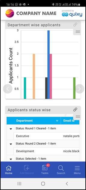 Quixy Software - Quixy Mobile App Dashboard