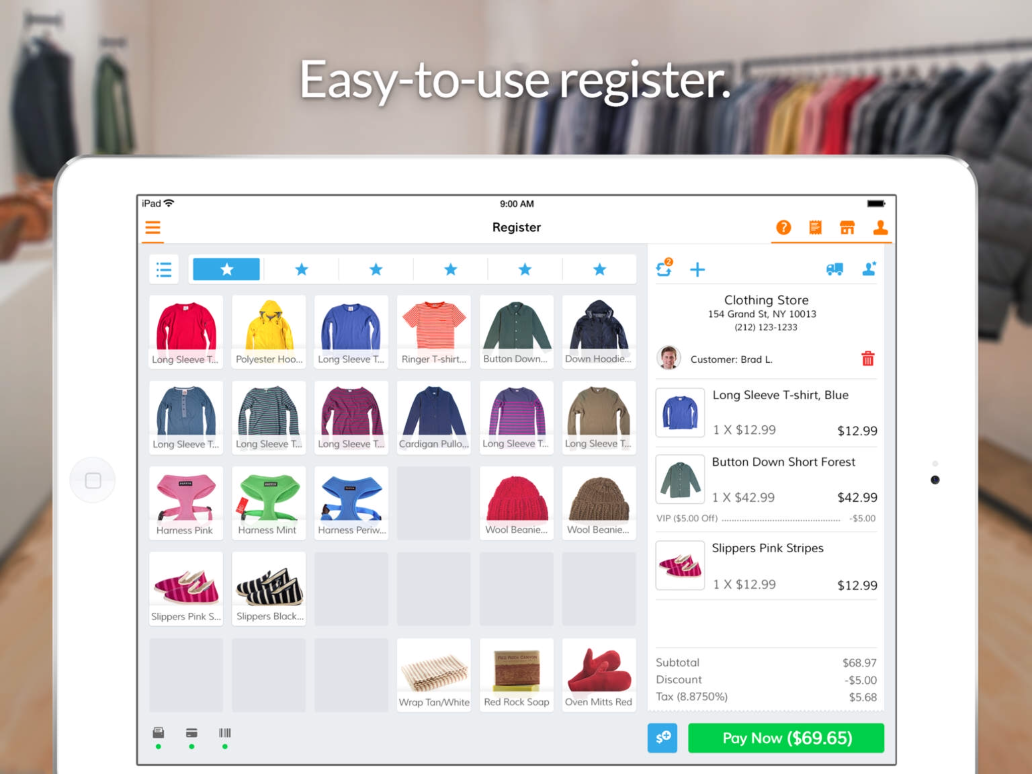 Manage online sales from the easy-to-use register