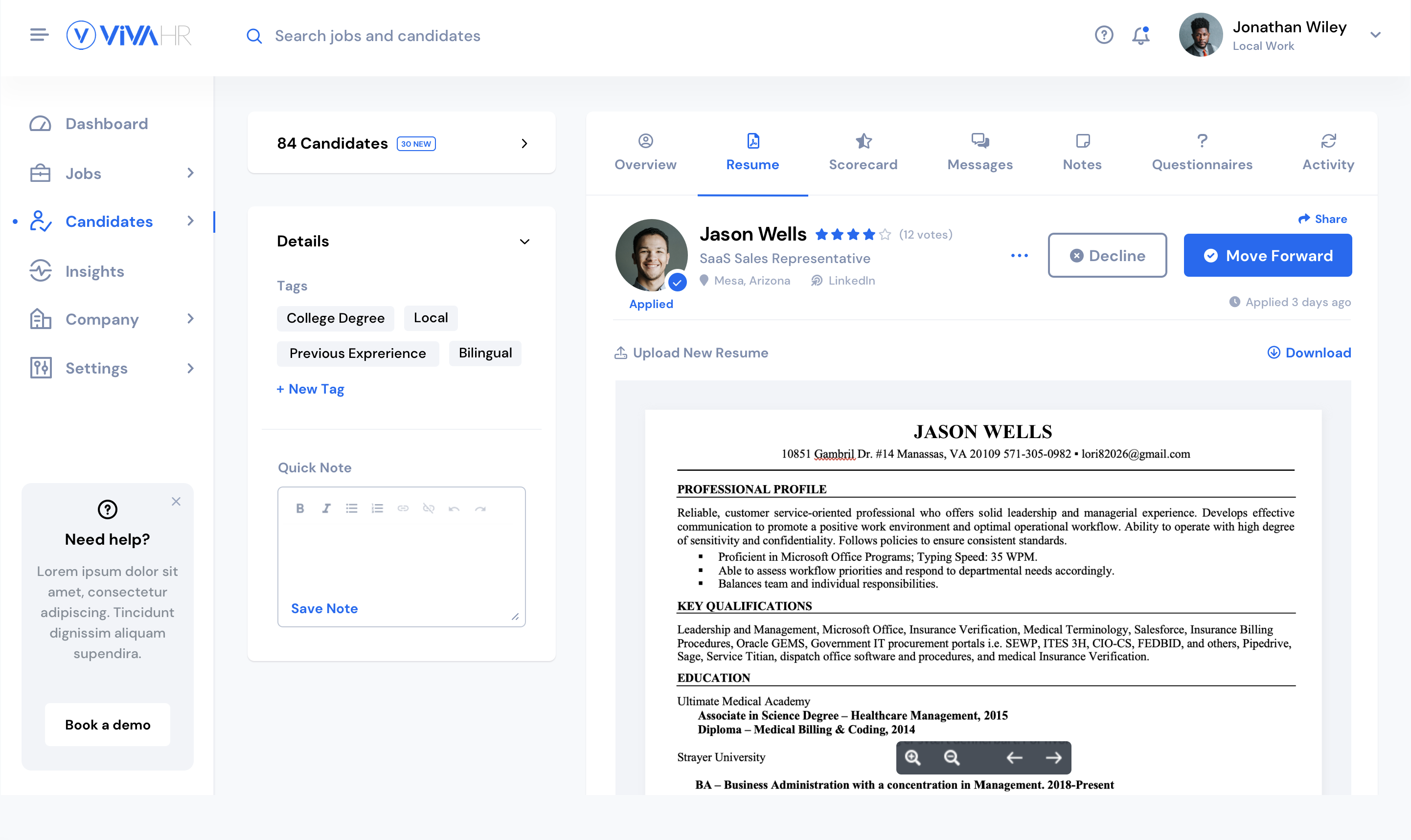 Collaborate with your teammates and keep track of each candidate in your hiring process.