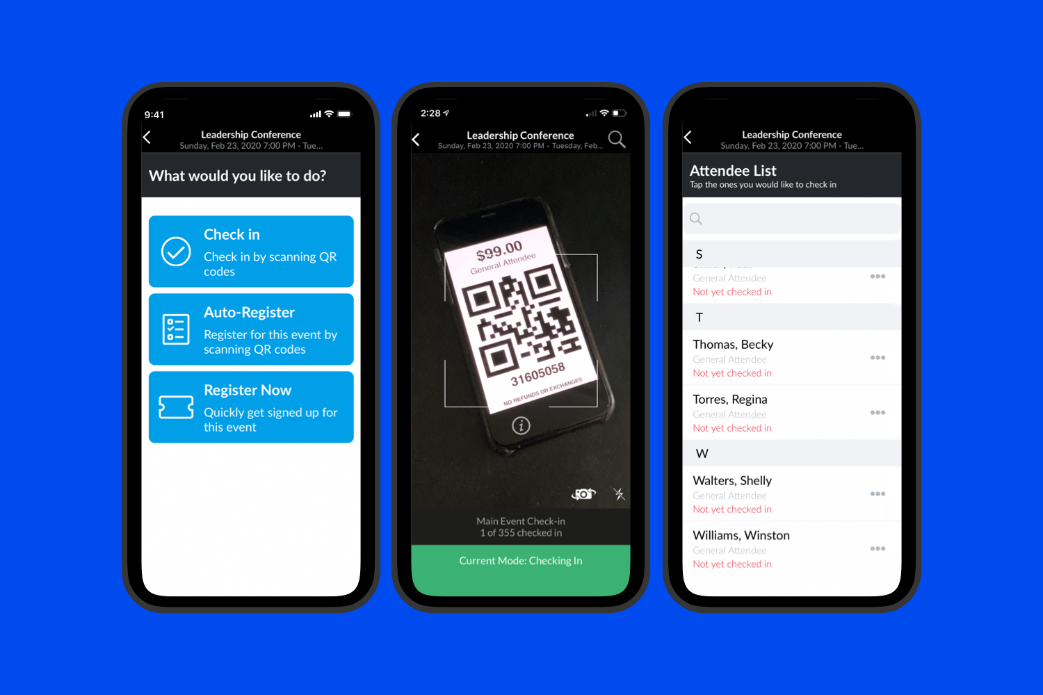 Scan tickets, check-in attendees, control the event day—right in the palm of your hand with the Brushfire Mobile App.