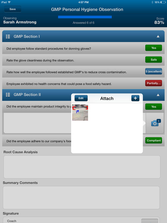 Upload and attach photos and images to answer questions for visual support
