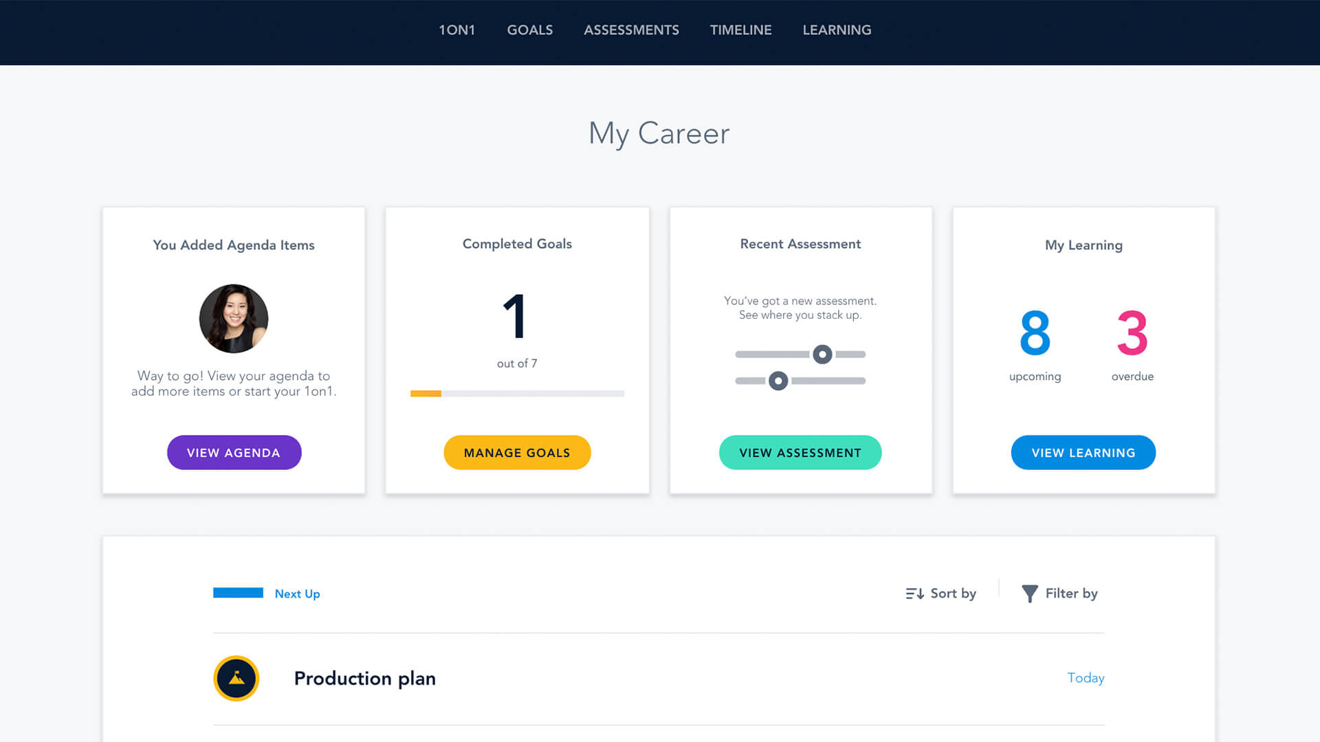 CAREER PLANNING: Bridge makes it easy for employees to check the status of their goals, learnings, assessments, 1:1 manager agenda and more!