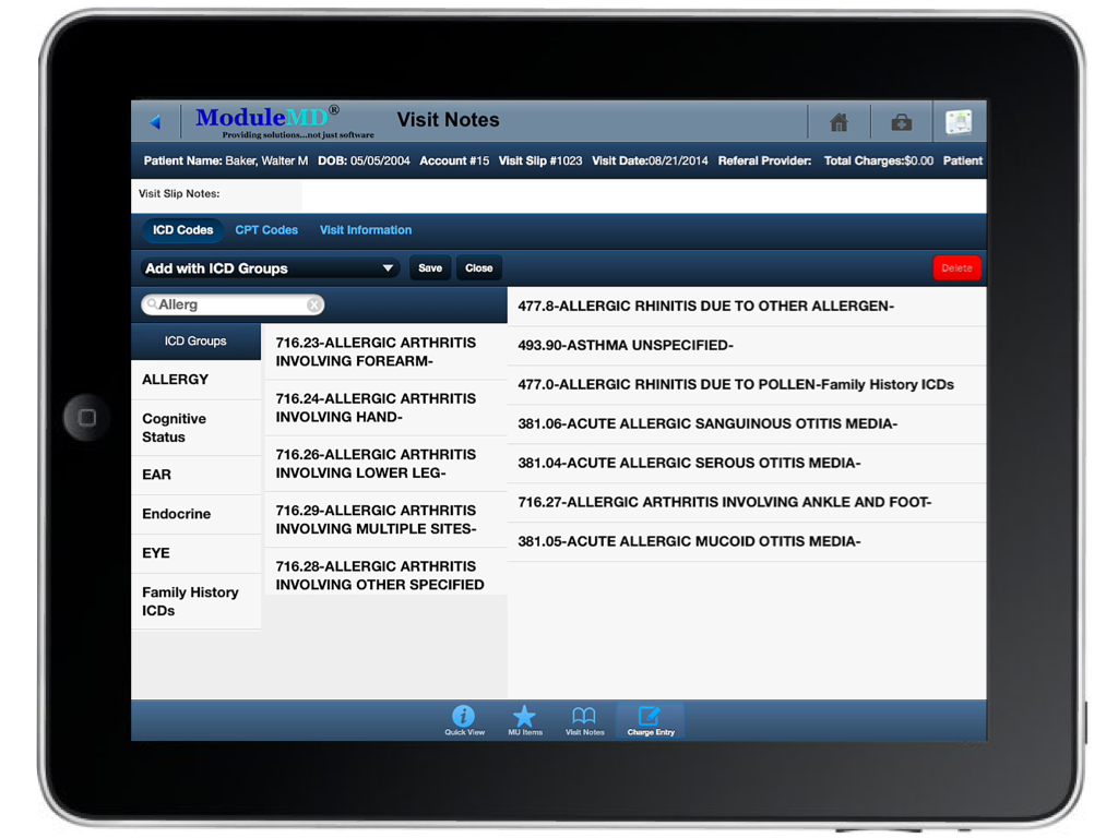 iPad visit interface