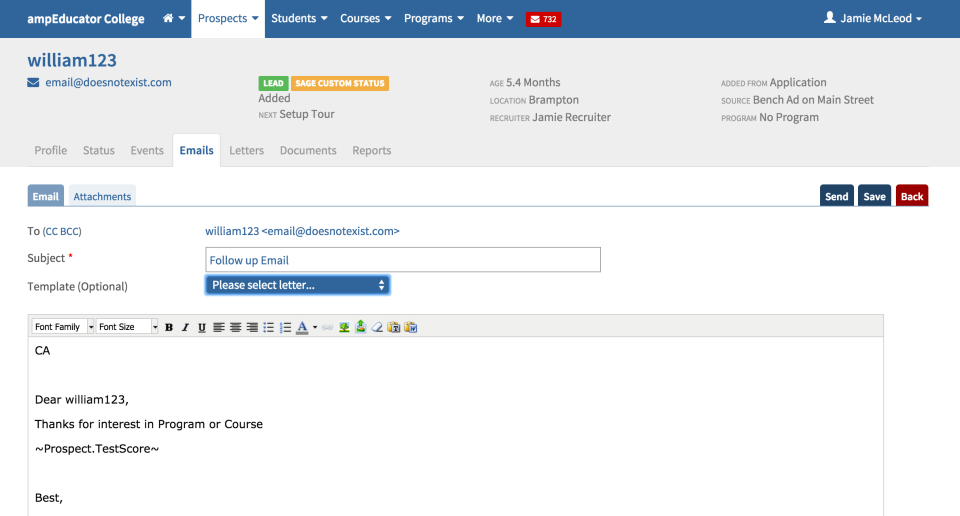 Manage communication with staff, prospects and students through email