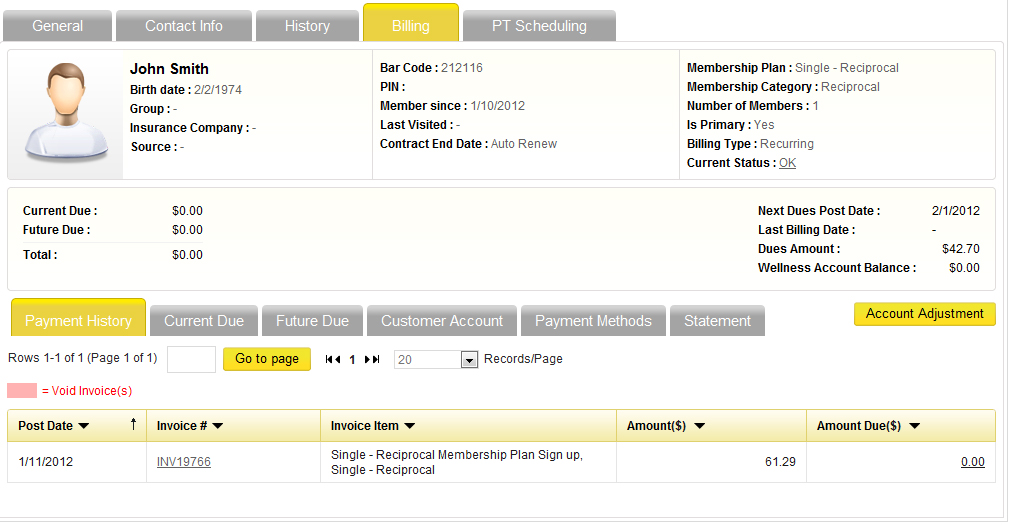iGo Figure users can view full payment history with any void invoices highlighted