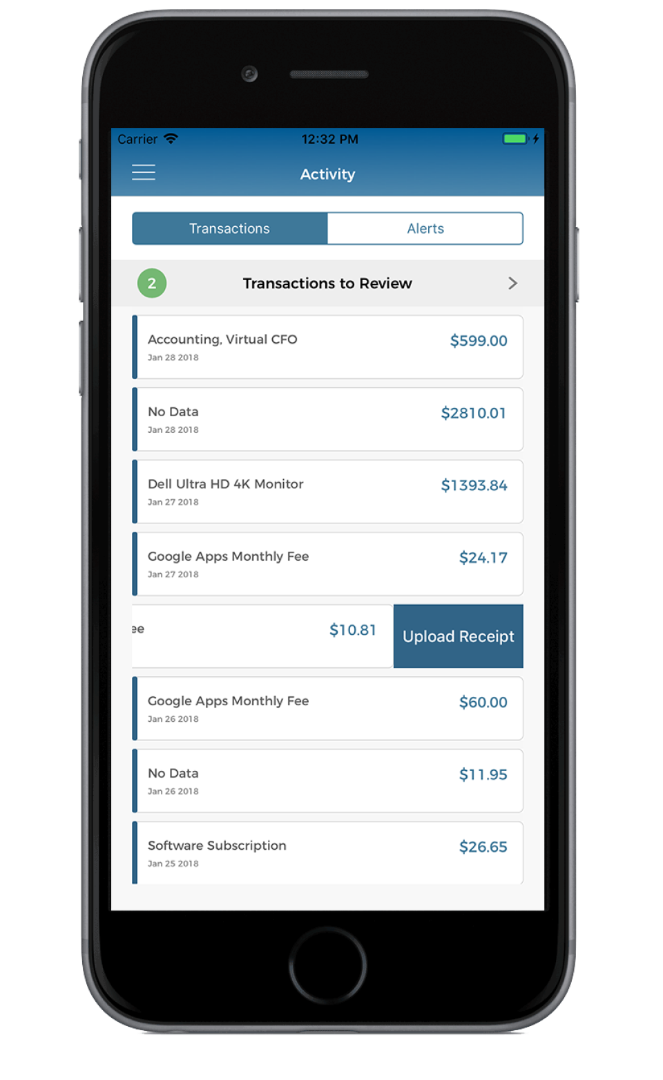 Upload receipts straight into ScaleFactor via mobile device