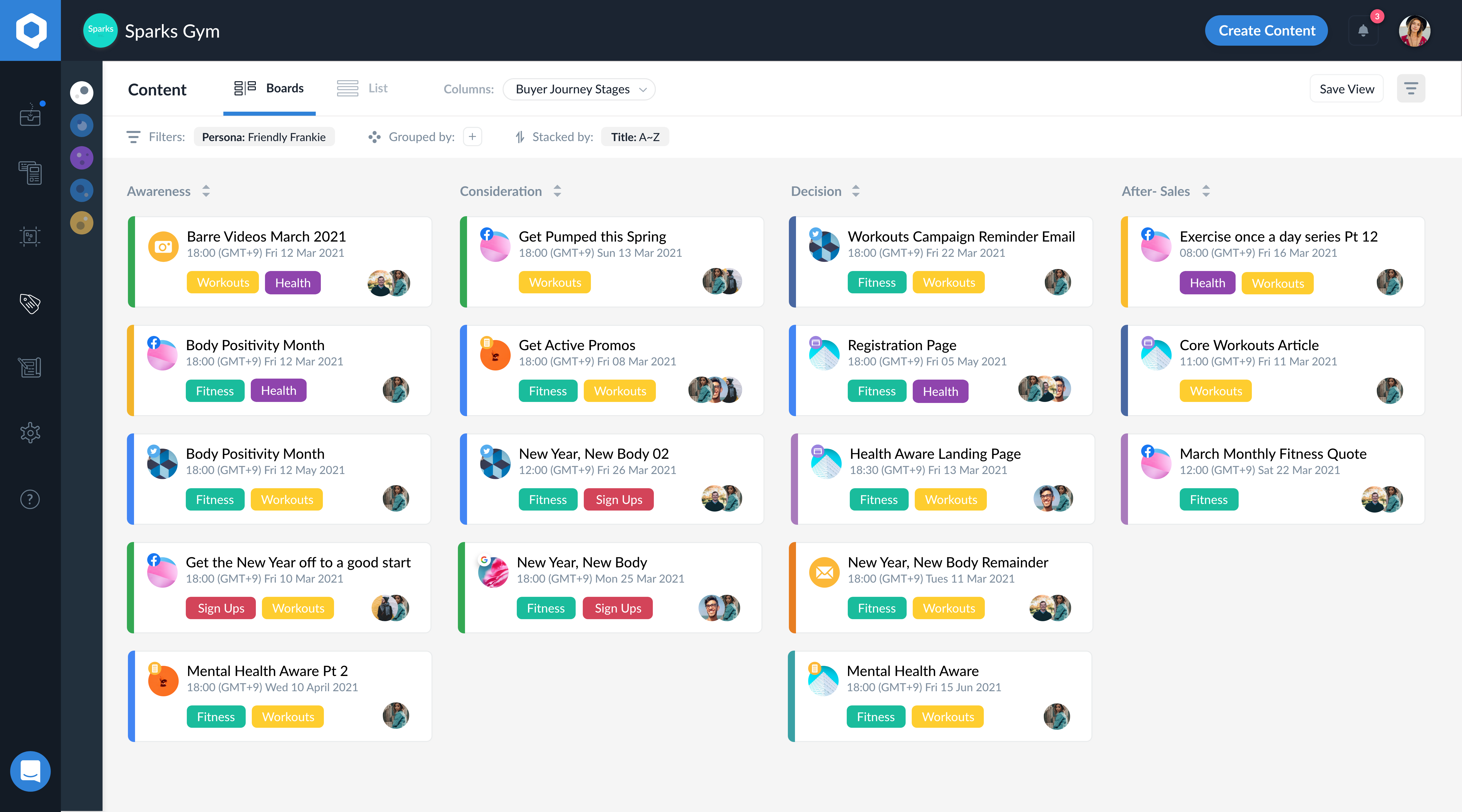 Choose the view that's right for all of you with boards that allow you to discover operational bottlenecks and areas for improvement, and spot content gaps and ideas to help optimize your content strategy