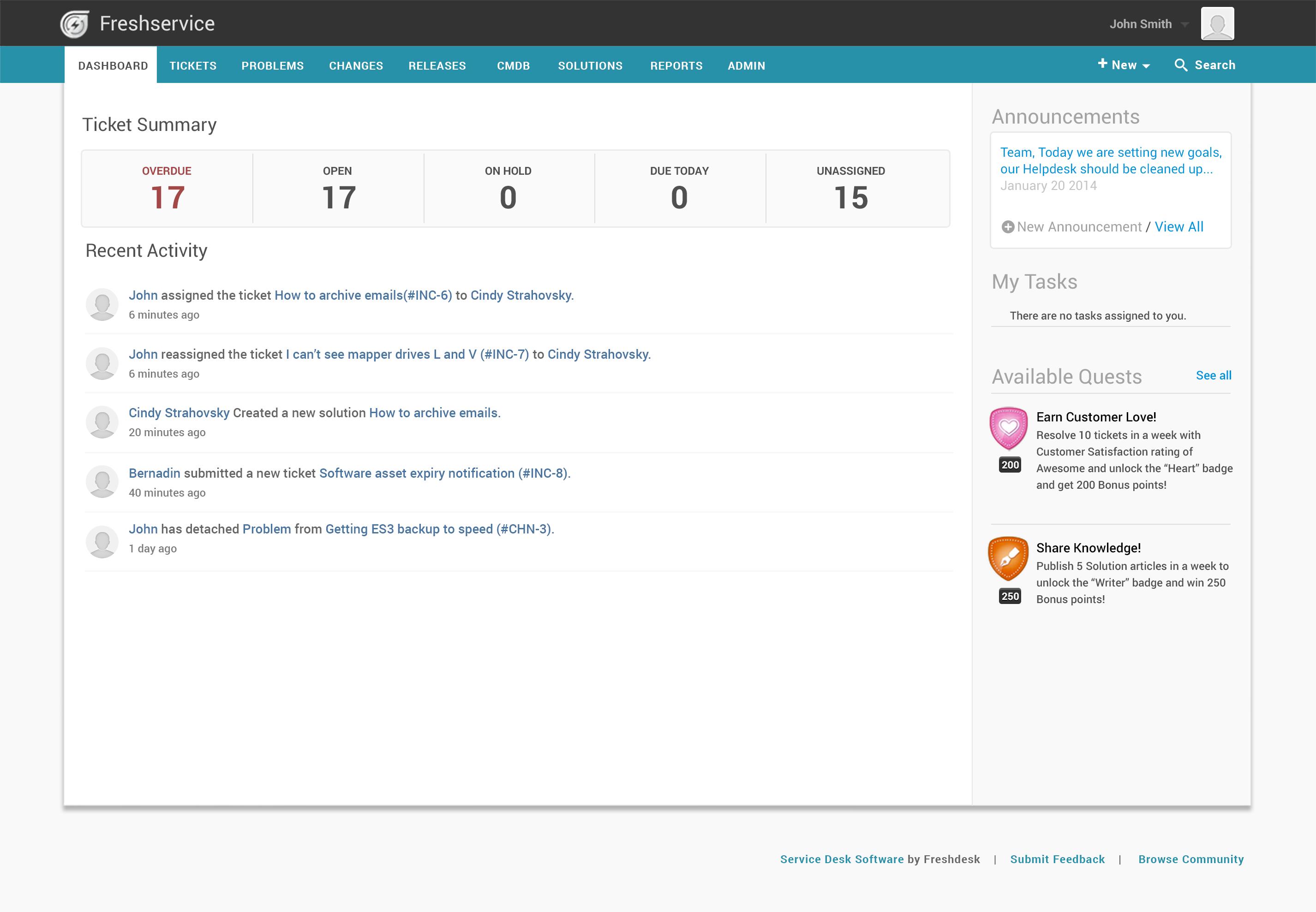 Freshservice Software - Freshservice IT helpdesk dashboard