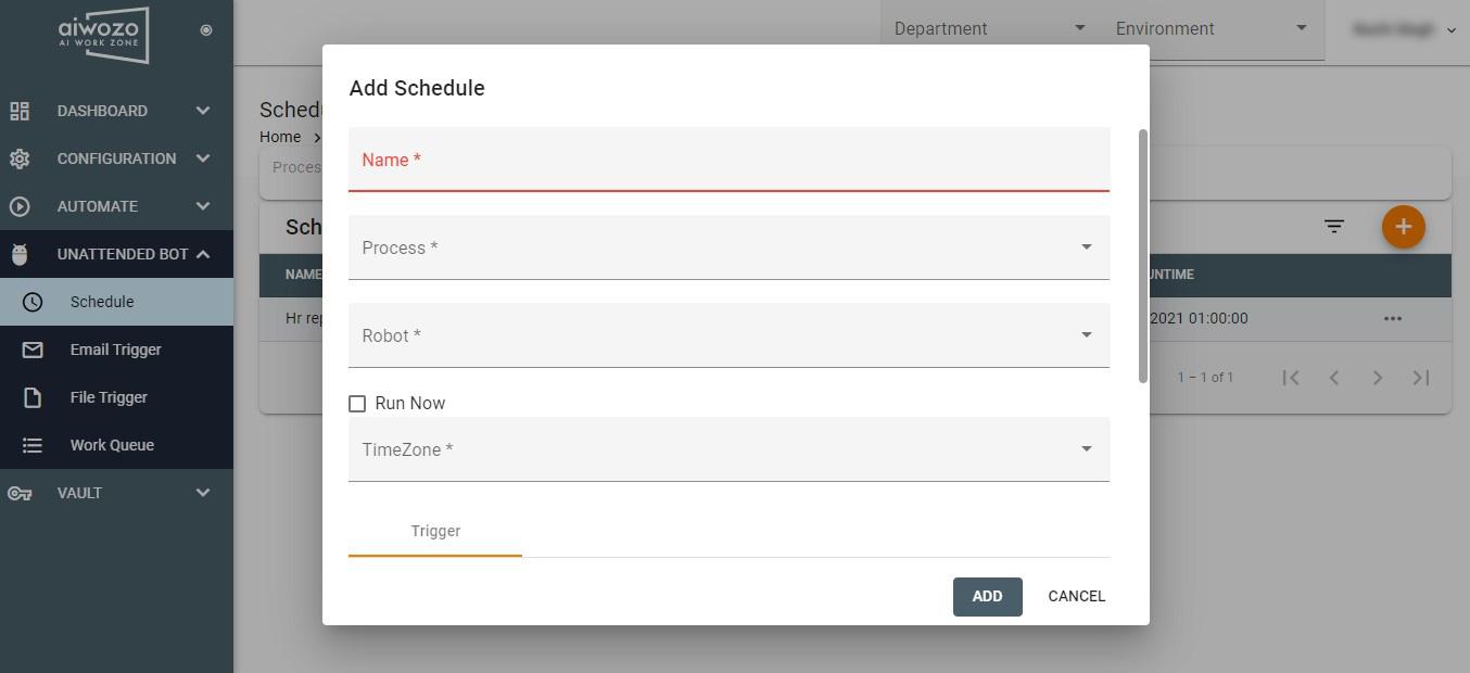 Aiwozo Workzone - Schedule Unattended Bot