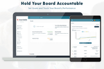Boardable screenshot: With our Goal Tracking feature, you can take board performance to the next level by creating visibility into your nonprofit's goals and growth initiatives. Set benchmarks for your organization, committees, and board members.