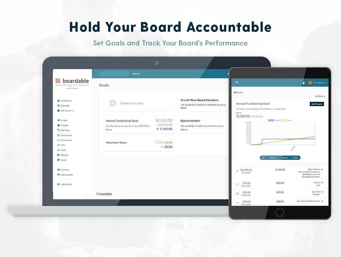 With our Goal Tracking feature, you can take board performance to the next level by creating visibility into your nonprofit's goals and growth initiatives. Set benchmarks for your organization, committees, and board members.