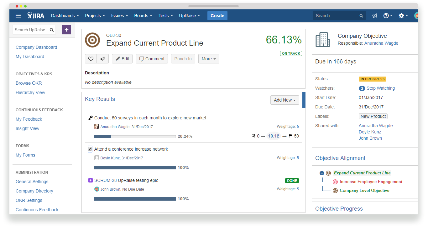 Set objectives and link them to JIRA issues