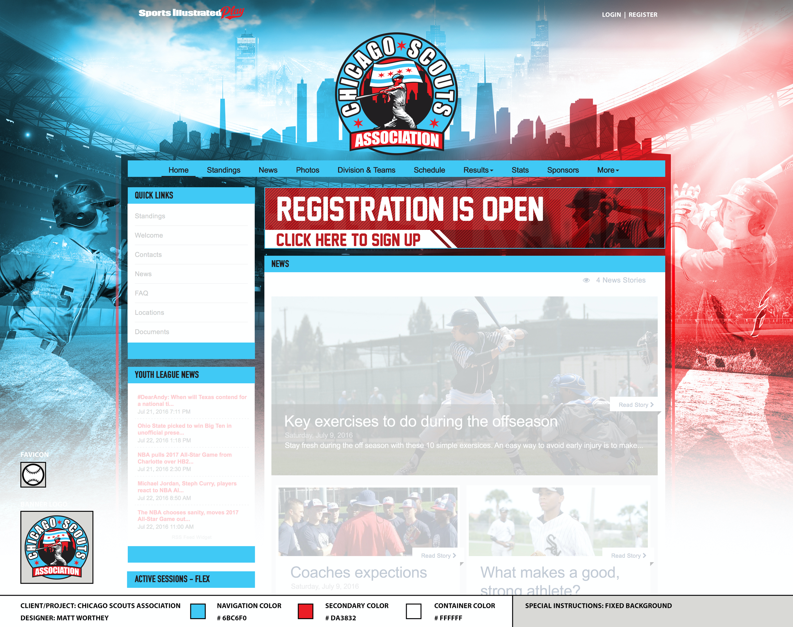 Online registration, fully integrated with your league websites