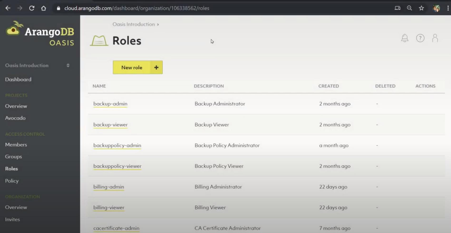 ArangoDB roles