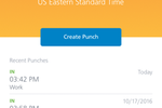 Paycor Screenshot: Employees can punch in and out from their mobile device
