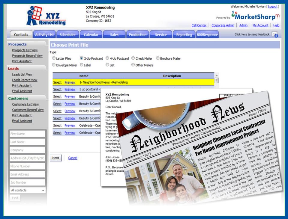MarketSharp direct mail marketing