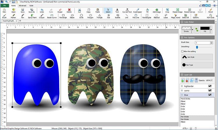 DrawPad draw shapes, adjust strokes, add solid and gradient fills