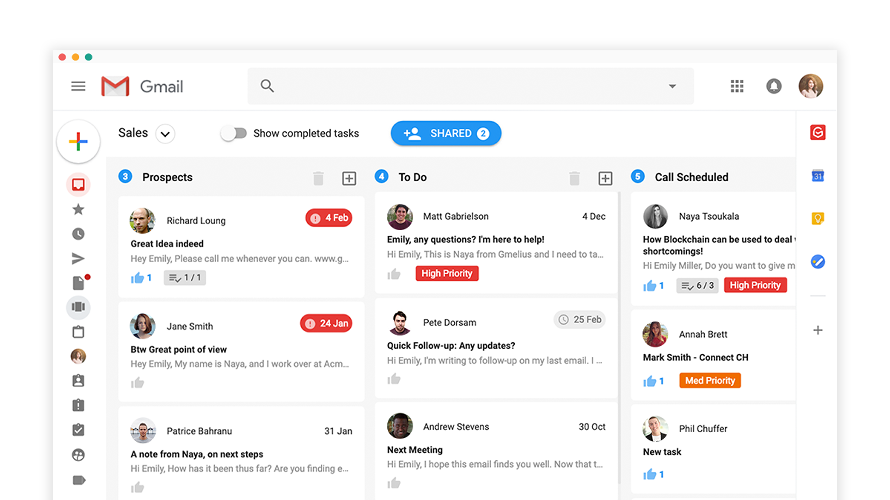 With Gmelius you will have a Trello-like board right in the inbox, giving an overview to monitor client and project pipelines