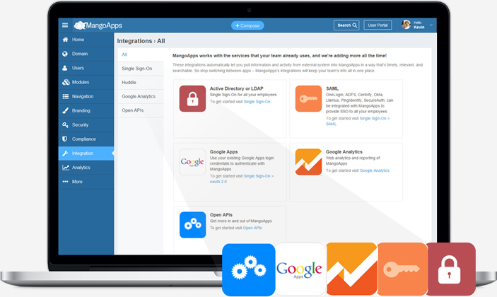 50+ built-in integrations allow you to easily move information back and forth between MangoApps and other enterprise systems.