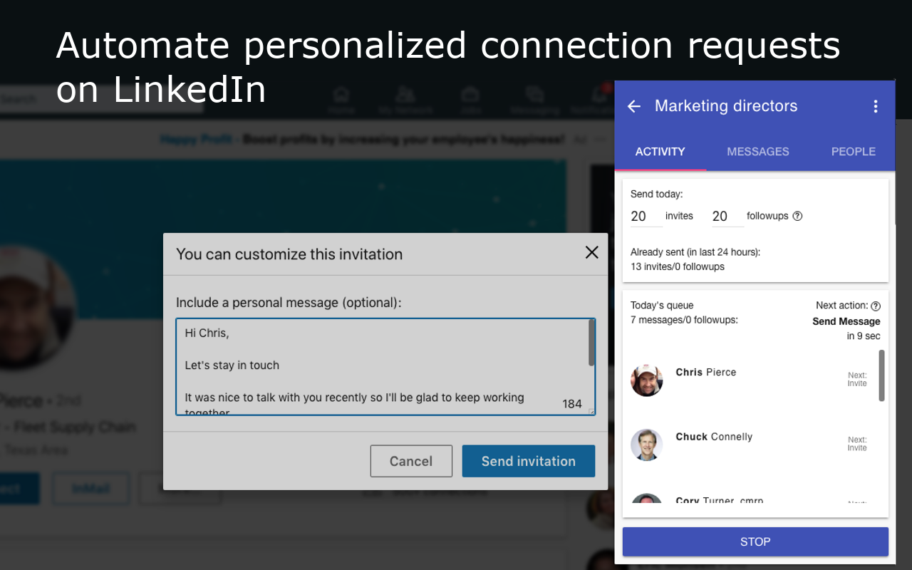 LinkedIn auto connect - automate connection requests on LinkedIn. Personalize your automated LinkedIn connections to achieve a high connection rate in your lead generation and prospecting campaigns.