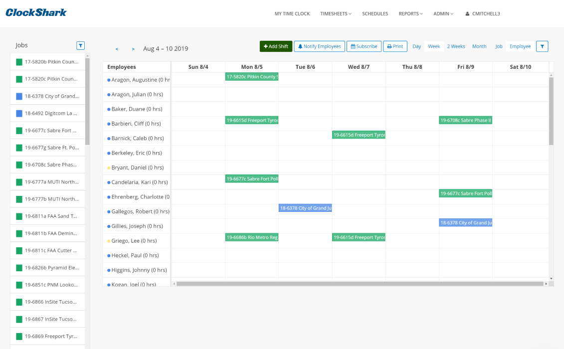 Drag and drop simple, instantly updates across company schedule with optional alerts.