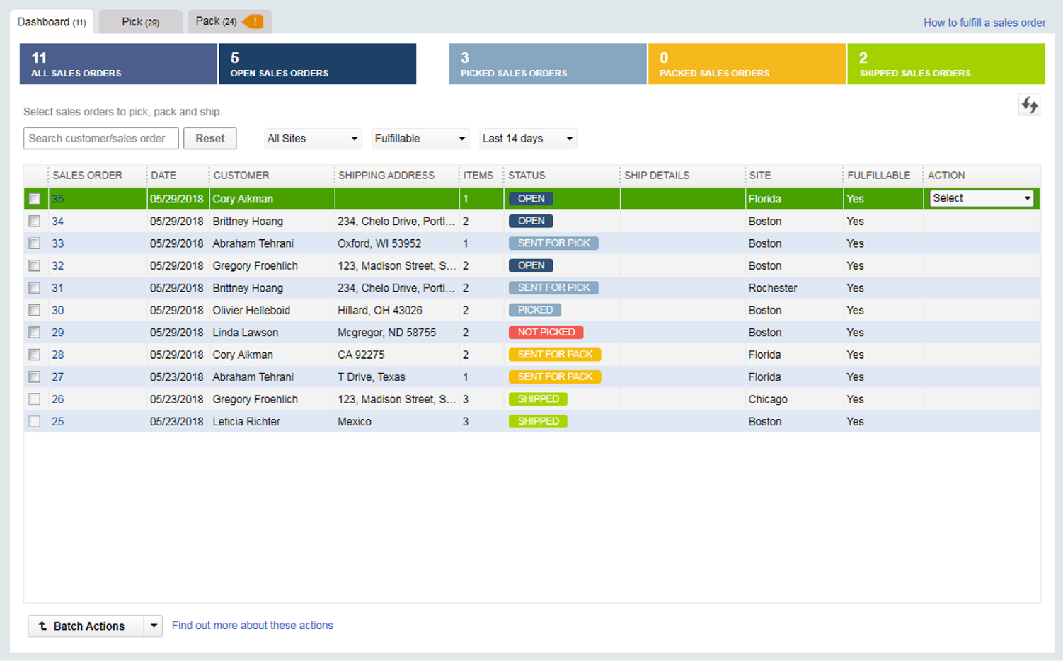 With QuickBooks Enterprise, users can manage pick, pack and ship for all their sales orders