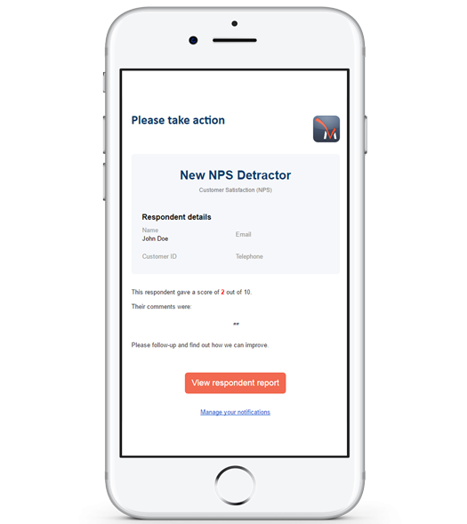 Automated notifications give you the opportunity to quickly interact with your respondents. Set conditions based on how respondents answer surveys and when these conditions are met, they trigger the notifications.