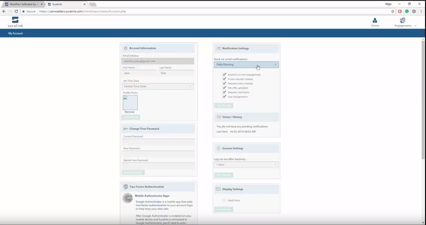 Suralink screenshot: Suralink account settings