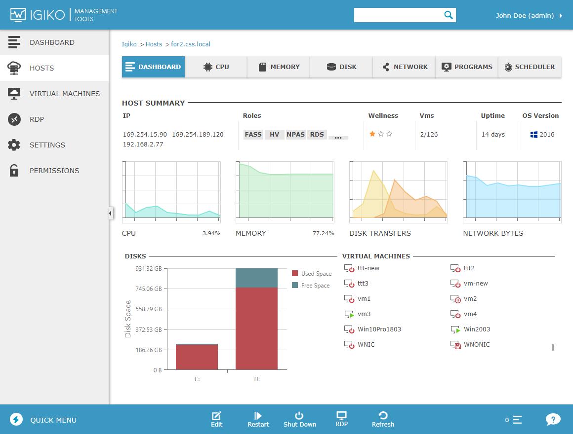 Igiko Management Tools host summary