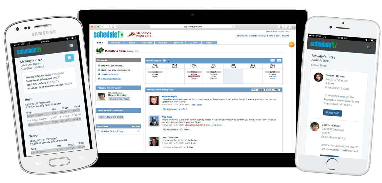 Schedulefly is a great way to schedule and communicate with restaurant staff. It's on the web, so no downloads required. No version or space requirements either.  It works well on any kind of laptop, tablet or phone.