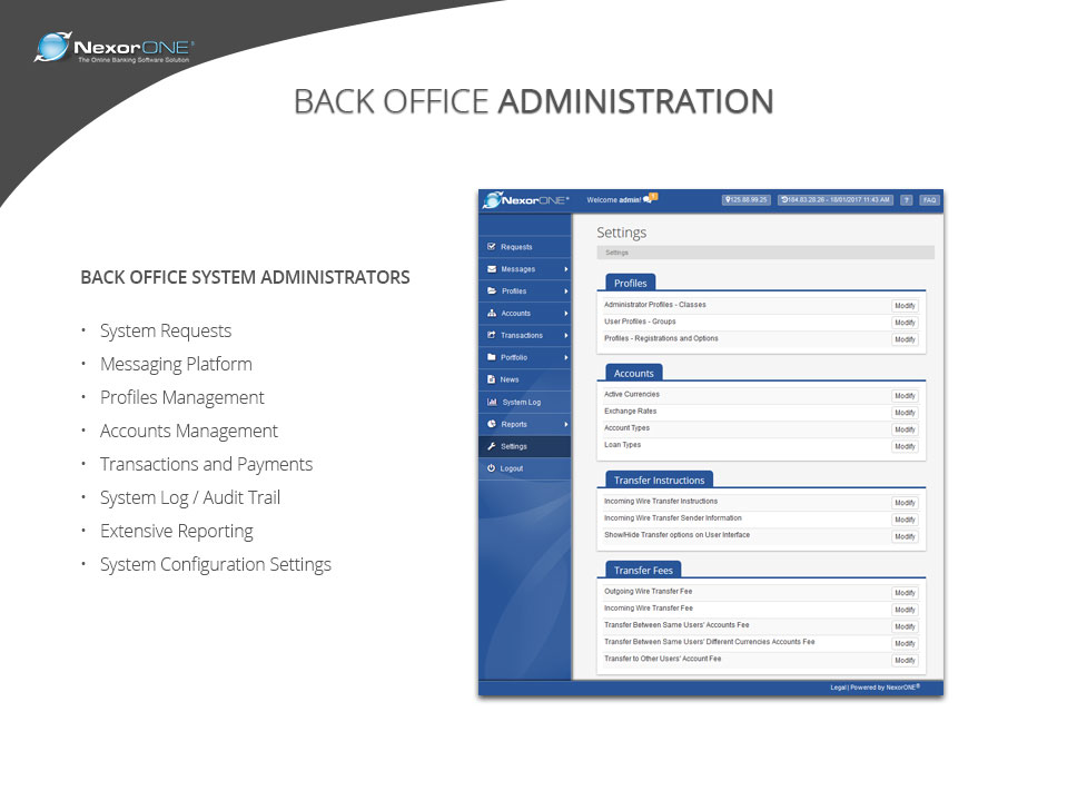 Manage back office administration tasks such as profile management, account management, and audit trails